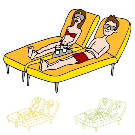 An image of a man and woman on lounge chairs sun tanning. Ilustrace