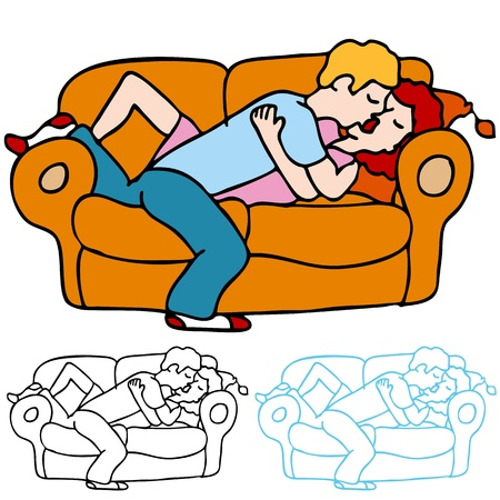 innamorati che si baciano: An image of a lovers kissing on the sofa.