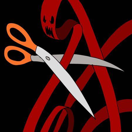 赤テープ モンスターをはさみ切断のイメージ。