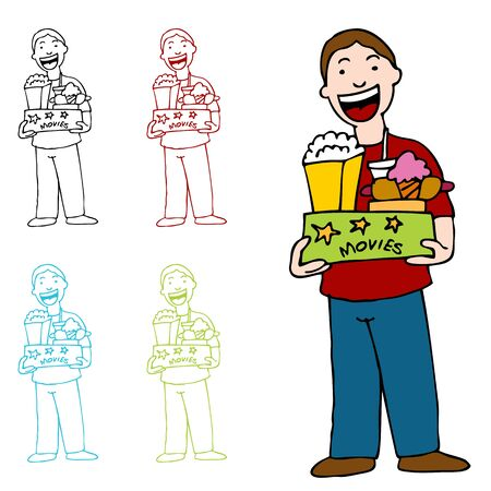 An image of a man holding a box of movie theater food. Vector