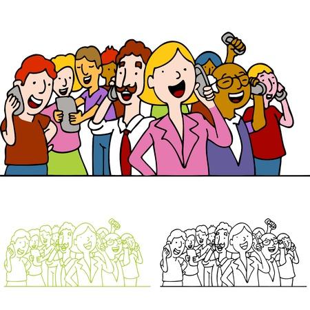 Een afbeelding van een menigte van mensen met behulp van mobiele telefoons.