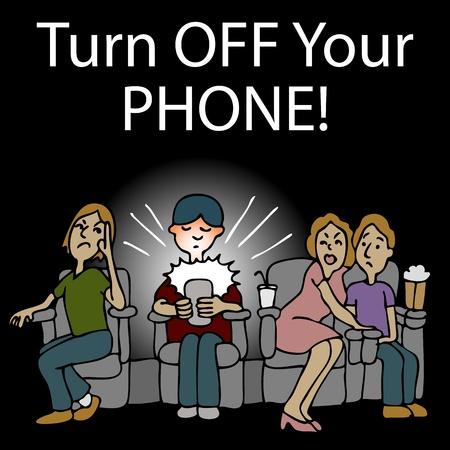 Een afbeelding van een onbeschofte man die op zijn smartphone in de bioscoop texting.