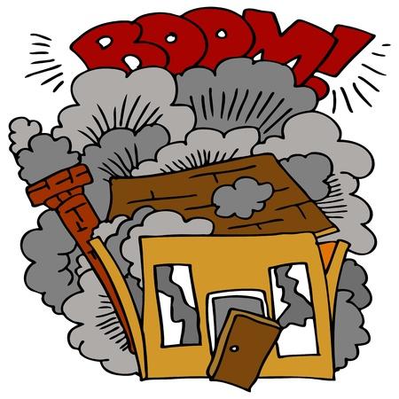 demolished house: An image of a house being demolished. Illustration