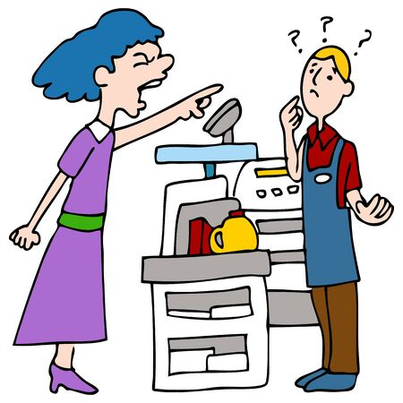 rude: An image of a customer yelling at a cashier. Illustration