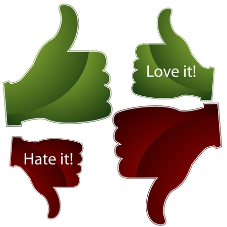 thumb's up: An image of a thumbs up and down approval icons