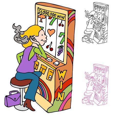 machines: An image of a woman smoking while playing at a casino slot machine.