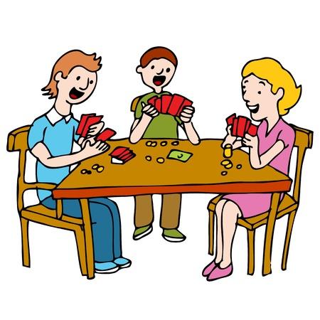 hand holding card: Een afbeelding van een volk een poker kaartspel spelen aan een tafel.