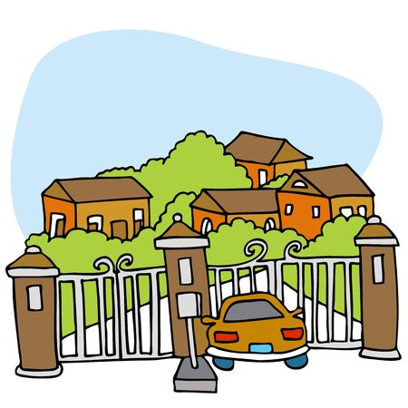 An image of a car at the front gate of a gated community. Vector