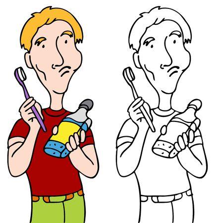enjuague bucal: Una imagen de un hombre cepillarse los dientes y enjuague con enjuague bucal.