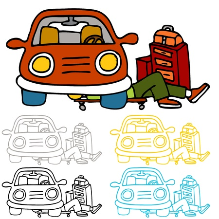 underneath: An image of a auto repairman underneath a car performing maintence work. Illustration