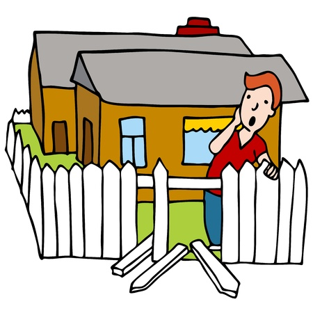 picket fence: An image of a man worried about his broken home fence.