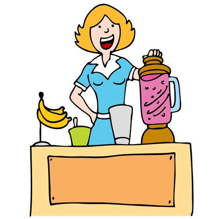 demonstrate: An image of a woman using a blender to make a banana smoothie. Illustration