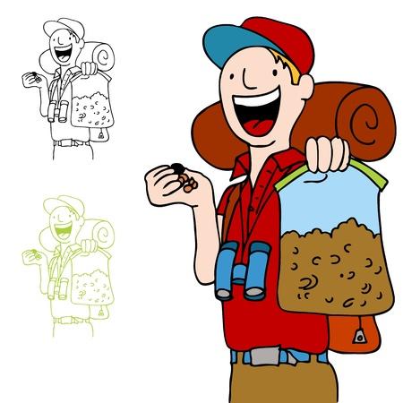 Een afbeelding van een wandelaar met een zak met trailmix-snack.