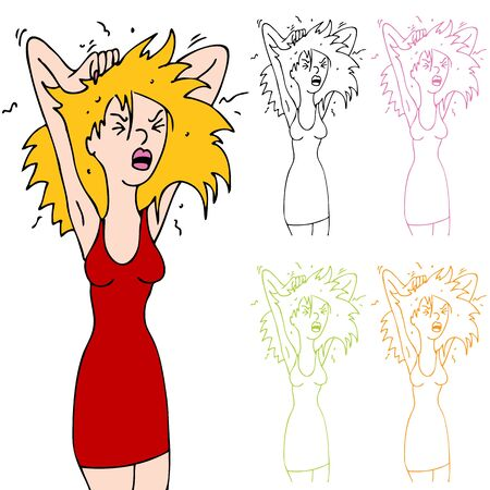 Een afbeelding van een vrouw sratching haar hoofd dankzij roos. Vector Illustratie
