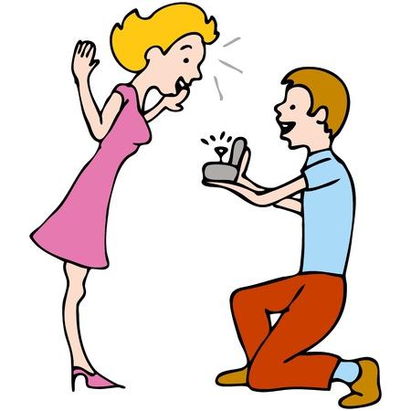 proposal of marriage: L'immagine di un uomo fare una proposta di matrimonio ad una donna. Vettoriali