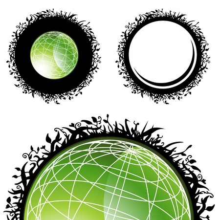 An image of a green globe with a plant border design. Stock Vector - 9163111
