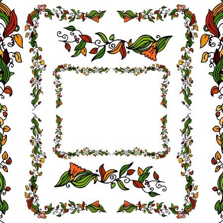 yedra: Establece una imagen de un borde de vid de la flor. Vectores