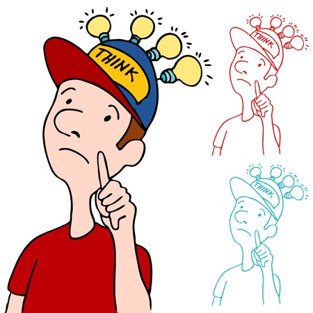 An image of a man wearing his thinking cap. Ilustracja