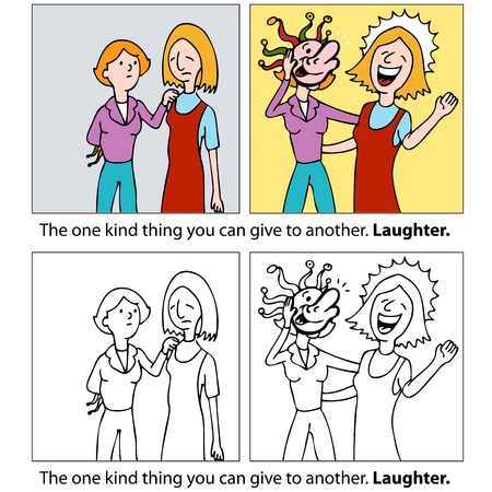 comic strip: An image of one woman trying to make her friend laugh.