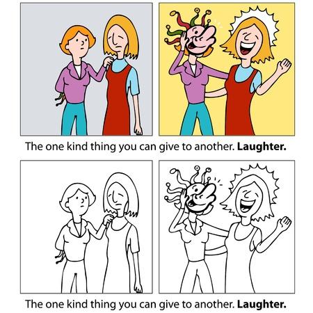 bondad: Una imagen de una mujer tratando de hacer re�r a su amigo.
