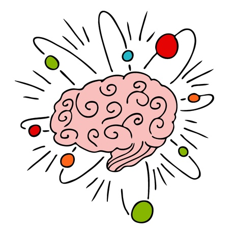 cartoon atom: An image of a human brain with atomic powers. Illustration