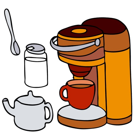 An image of a single serving coffee machine set. Vector