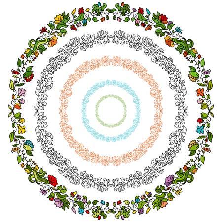 An image of a set of flower design elements in a circular shape. Иллюстрация