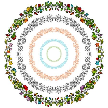 An image of a set of flower design elements in a circular shape. Stock Vector - 9163137