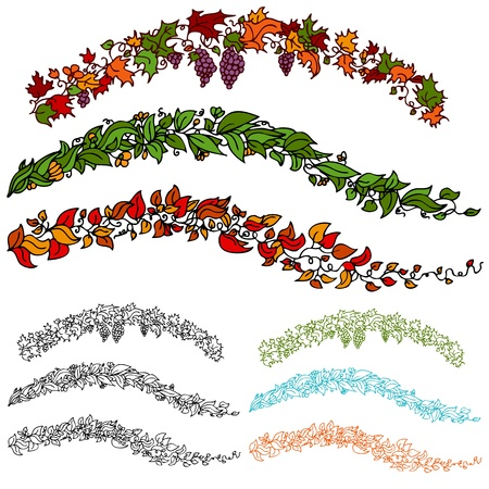 An image of a set of autumn flower leaf vines. Stock Vector - 9163136