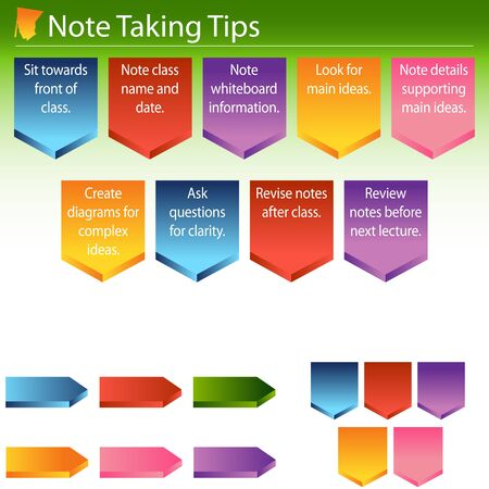 An image on how to take good notes in school. Stock Vector - 9163135