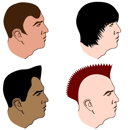 An image of a variety of hairstyles for men. Ilustracja