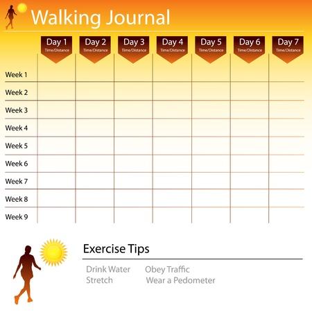 journal: An image of a walking journal chart. Illustration
