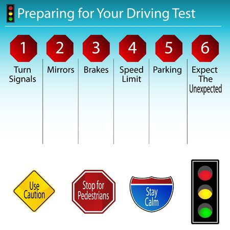 drivers license: An image of a driving test tip chart. Illustration