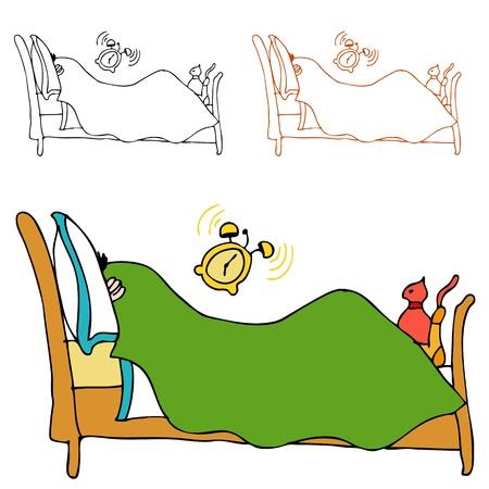 despertarse: Una imagen de un hombre que se esconde bajo las portadas de su cama, mientras que su despertador est� sonando.