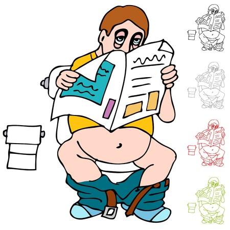 화장실에 신문을 읽는 남자의 이미지.