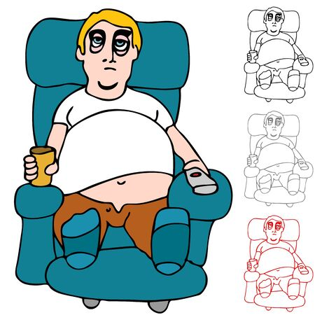 reclining chair: An image of a tired man sitting on reclining chair with remote control and a can of beer.