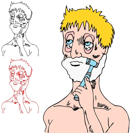 An image of a tired man shaving his face.  イラスト・ベクター素材