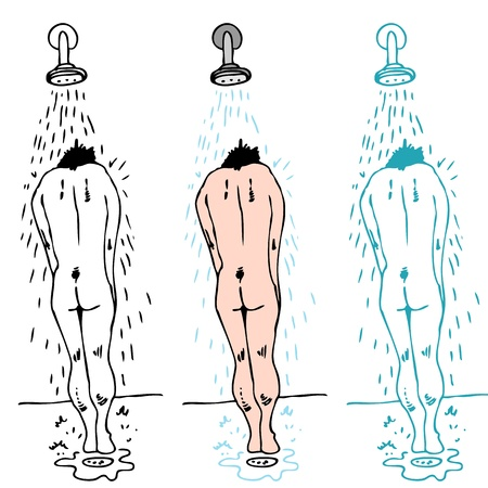 taking shower: An image of a man standing under a showerhead taking a shower. Illustration