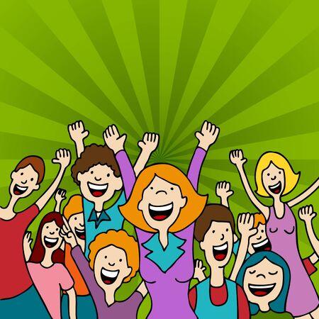 Una imagen de un grupo de personas asombrados con los brazos alzados.