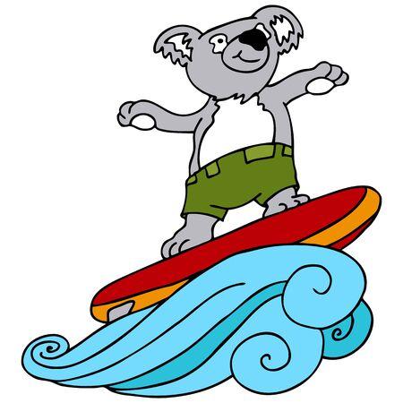 An image of a koala going surfing. Иллюстрация