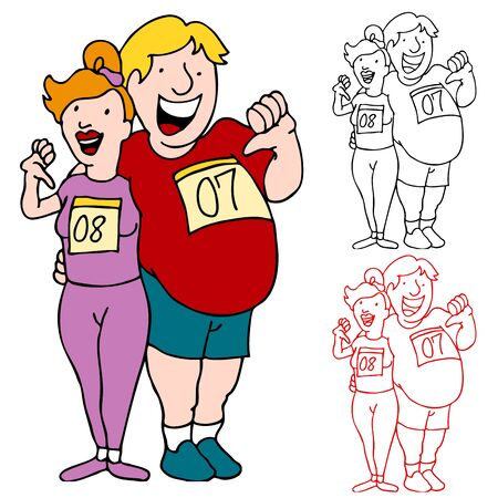 An image of a overweight couple ready to run a race to lose weight. Illustration