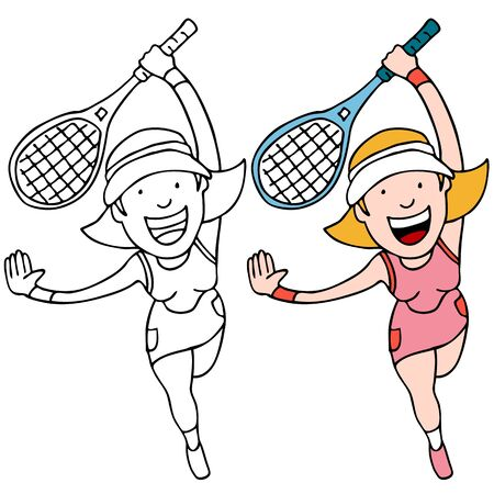 An image of a girl playing tennis. Vector