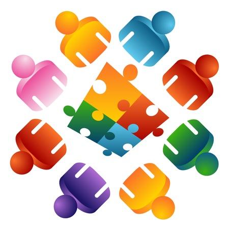 Ein Image eines Puzzles lösen Team Menschen. Standard-Bild - 9244979
