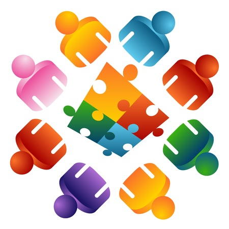 An image of a puzzle solving team people. Illustration