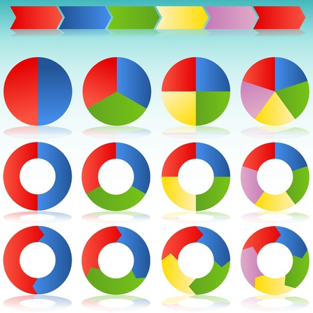 An image of a various colorful circle arrows with transparent drop shadows.