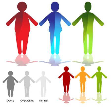 Een afbeelding van een weightloss figuur icon set.