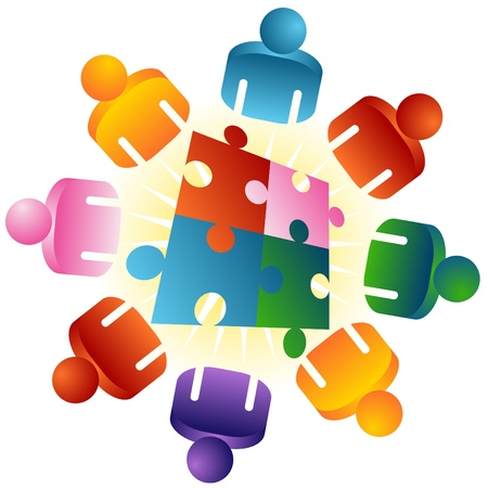 An image of a roundtable puzzle solving team people. Vector