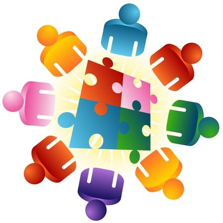 Ein Image eines Roundtable-Puzzles lösen Team Menschen.