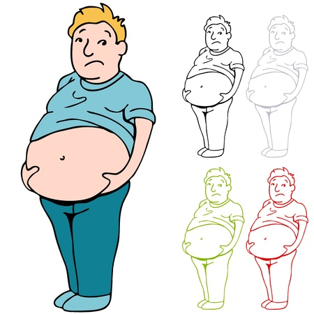 gut: An image of a man holding his heavy belly.