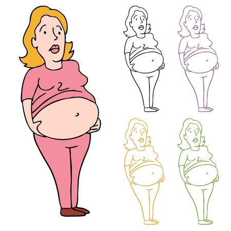 彼女の重い腹を保持している女性のイメージ。  イラスト・ベクター素材